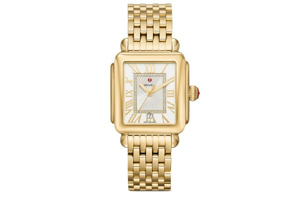 Large image of Michele Deco Madison Gold Diamond Dial Womens Watch - MWW06T000171