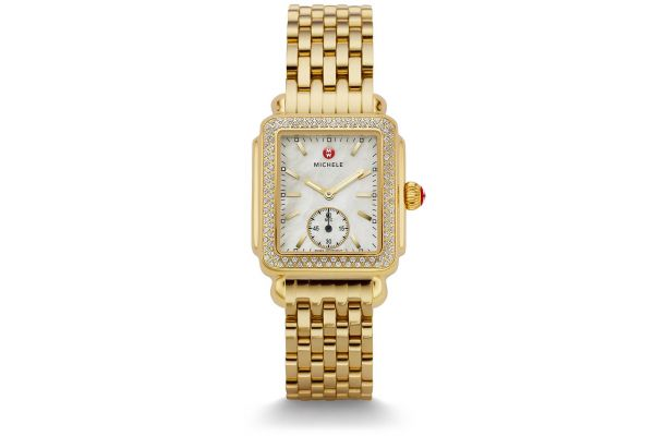Large image of Michele Deco Mid Diamond Gold Womens Watch - MWW06V000003