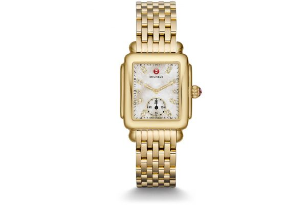Large image of Michele Deco Mid Gold, Diamond Dial Watch - MWW06V000004