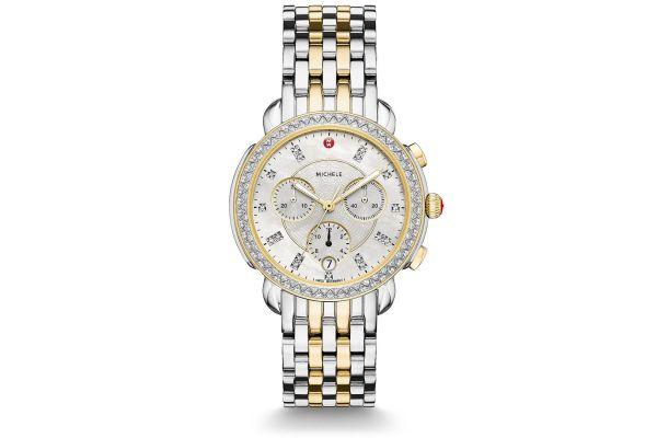 Michele Sidney Diamond Two-Tone, Diamond Dial Womens Watch - MWW30A000005