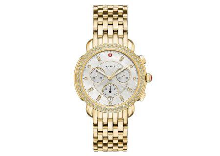 Michele Sidney Diamond Gold, Diamond Dial Womens Watch - MWW30A000008