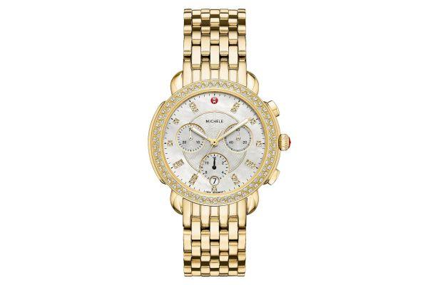 Large image of Michele Sidney Diamond Gold, Diamond Dial Womens Watch - MWW30A000008