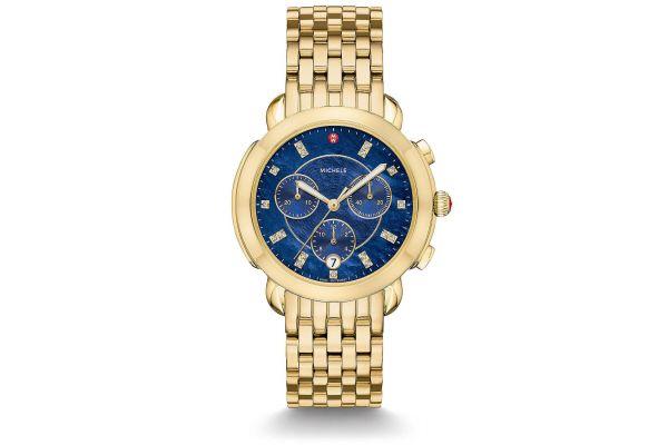 Michele Sidney Gold Diamond Dial Womens Watch - MWW30A000049
