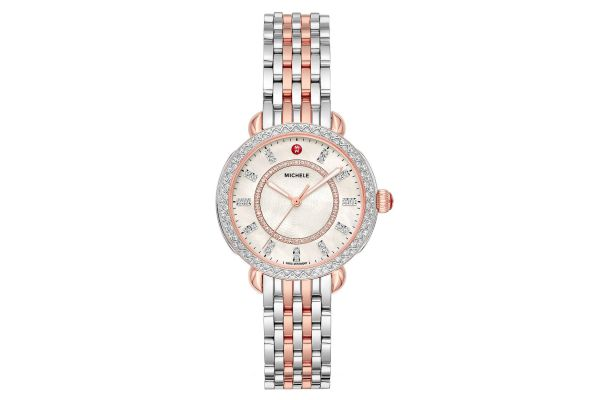 Michele Sidney Classic Two-Tone Pink Gold Diamond Womens Watch - MWW30B000003