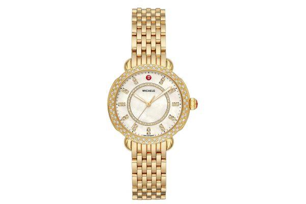 Michele Sidney Classic Gold Diamond Womens Watch - MWW30B000004