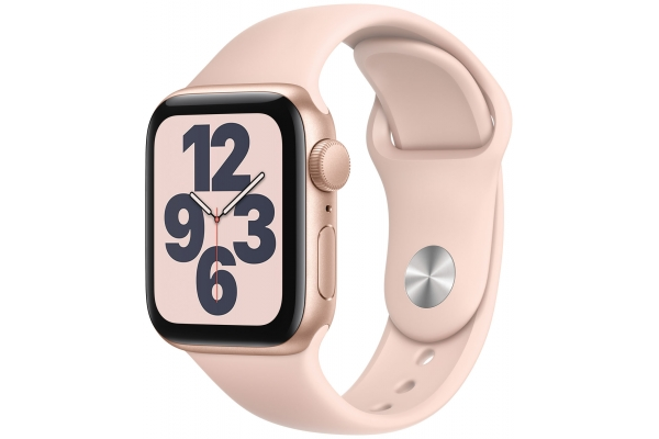 Large image of Apple Watch SE GPS 40mm Gold Aluminum Case With Pink Sand Sport Band - MYDN2LL/A