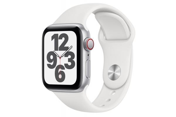 Large image of Apple Watch SE GPS & Cellular 40mm Silver Aluminum Case With White Sport Band - MYE82LL/A