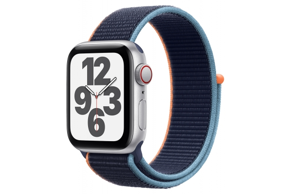 Large image of Apple Watch SE GPS & Cellular 40mm Silver Aluminum Case With Deep Navy Sport Loop - MYE92LL/A