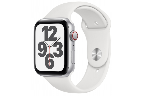 Large image of Apple Watch SE GPS & Cellular 44mm Silver Aluminum Case With White Sport Band - MYEM2LL/A