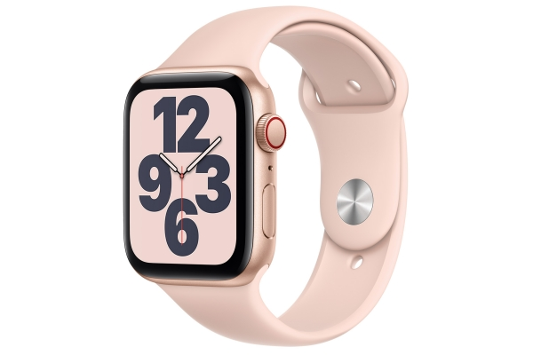 Large image of Apple Watch SE GPS & Cellular 44mm Gold Aluminum Case With Pink Sand Sport Band - MYEP2LL/A