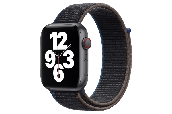 Large image of Apple Watch SE GPS & Cellular 44mm Space Gray Aluminum Case With Charcoal Sport Loop - MYEU2LL/A