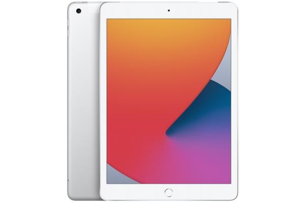 Large image of Apple iPad 10.2-Inch 128GB Wi-Fi + Cellular Silver (2020) - MYN82LL/A