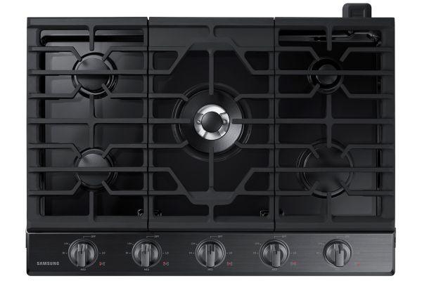"Large image of Samsung 30"" Fingerprint Resistant Black Stainless Steel Gas Cooktop - NA30N6555TG/AA"