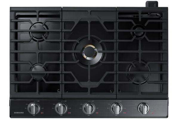"Large image of Samsung 30"" Fingerprint Resistant Black Stainless Steel Gas Cooktop - NA30N7755TG/AA"