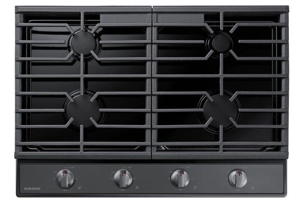 "Large image of Samsung 30"" Fingerprint Resistant Black Stainless Steel Gas Cooktop - NA30R5310FG/AA"
