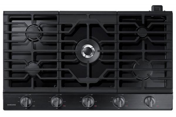 """Samsung 36"""" Fingerprint Resistant Black Stainless Steel Gas Cooktop - NA36N6555TG"""