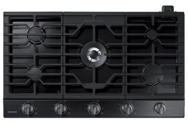 "Large image of Samsung 36"" Fingerprint Resistant Black Stainless Steel Gas Cooktop - NA36N6555TG/AA"