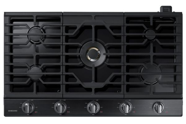 "Large image of Samsung 36"" Fingerprint Resistant Black Stainless Steel Gas Cooktop - NA36N7755TG/AA"
