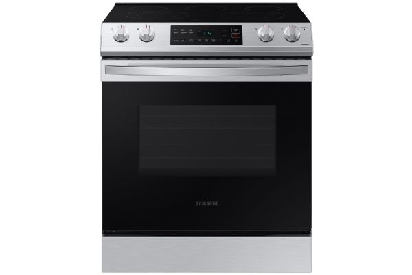 Large image of Samsung 6.3 Cu. Ft. Fingerprint Resistant Stainless Steel Front Control Slide-In Electric Range - NE63T8111SS/AA