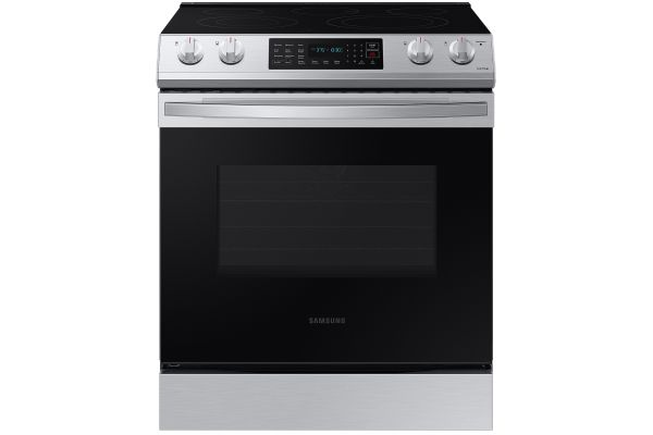 Large image of Samsung 6.3 Cu. Ft. Fingerprint Resistant Stainless Steel Front Control Slide-In Electric Range With Convection - NE63T8311SS/AA