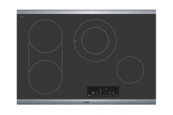 """Bosch 800 Series 30"""" Black And Stainless Steel Frame Black Electric Cooktop - NET8068SUC"""