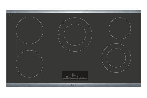 """Large image of Bosch 800 Series 36"""" Black And Stainless Steel Frame Electric Cooktop  - NET8668SUC"""