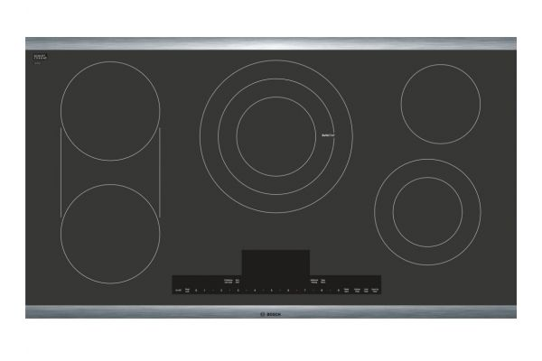"""Bosch Benchmark Series 36"""" Black With Stainless Steel Frame Electric Cooktop  - NETP668SUC"""