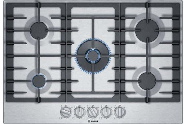 """Bosch 30"""" 800 Series Stainless Steel Gas Cooktop - NGM8057UC"""