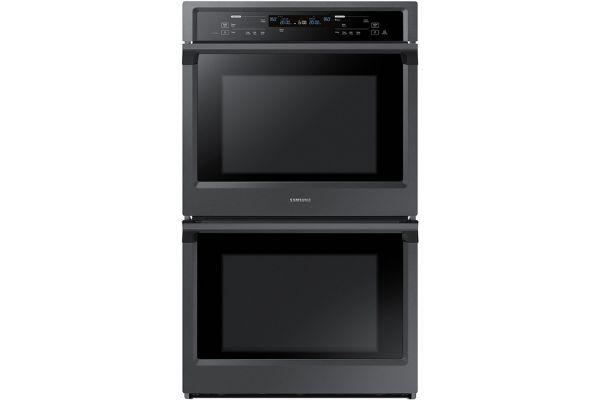 "Large image of Samsung 30"" Fingerprint Resistant Black Stainless Steel Double Wall Oven - NV51K6650DG/AA"