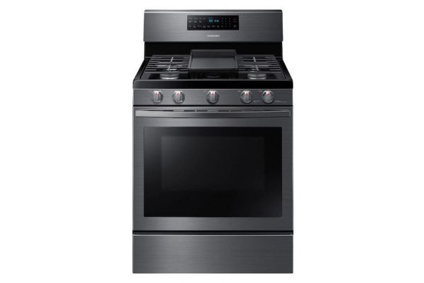 Large image of Samsung 5.8 Cu. Ft. Fingerprint Resistant Black Stainless Steel Gas Range With Convection - NX58R5601SG/AA