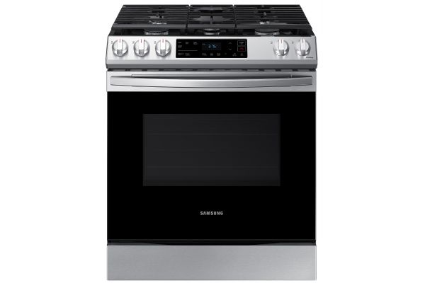 Large image of Samsung 6.0 Cu. Ft. Fingerprint Resistant Stainless Steel Front Control Slide-In Gas Range - NX60T8111SS/AA