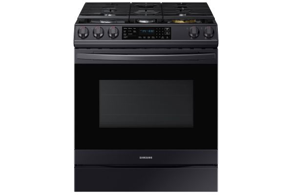 Large image of Samsung 6.0 Cu. Ft. Fingerprint Resistant Black Stainless Steel Front Control Slide-In Gas Range With Air Fry - NX60T8511SG/AA