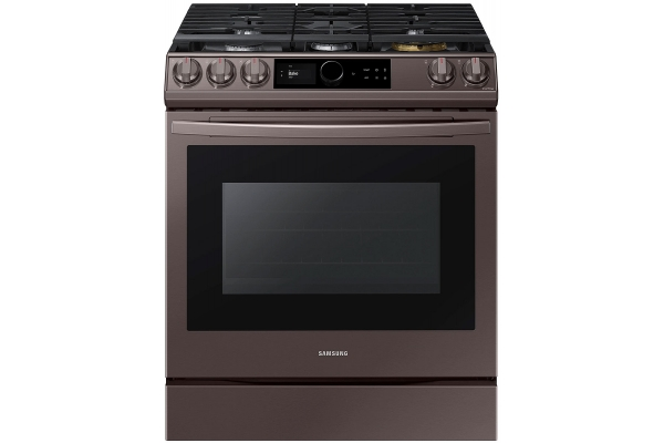 Large image of Samsung 6.0 Cu. Ft. Fingerprint Resistant Tuscan Stainless Steel Slide-In Gas Range With Smart Dial, Air Fry & Wi-Fi - NX60T8711ST/AA