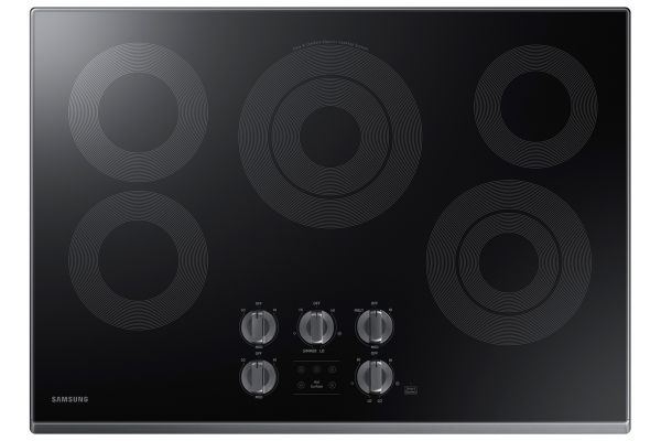 "Large image of Samsung 30"" Fingerprint Resistant Black Stainless Steel Electric Cooktop - NZ30K6330RG/AA"