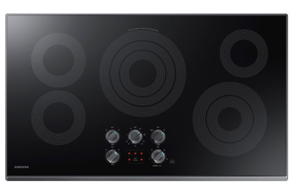 """Large image of Samsung 36"""" Black Stainless Steel Electric Cooktop - NZ36K6430RG/AA"""