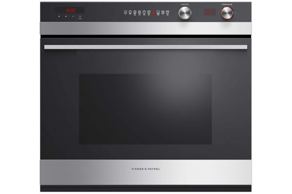 "Large image of Fisher & Paykel 30"" Black Glass Single Wall Oven - OB30SCEPX3N"