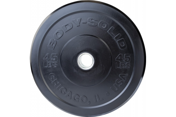 Large image of Body-Solid Black 45 Lbs. Chicago Extreme Bumper Plate - OBPX45