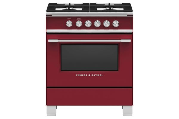 """Large image of Fisher & Paykel 30"""" Red Freestanding Gas Range - OR30SCG4R1"""