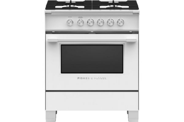 """Large image of Fisher & Paykel 30"""" White Freestanding Gas Range - OR30SCG4W1"""