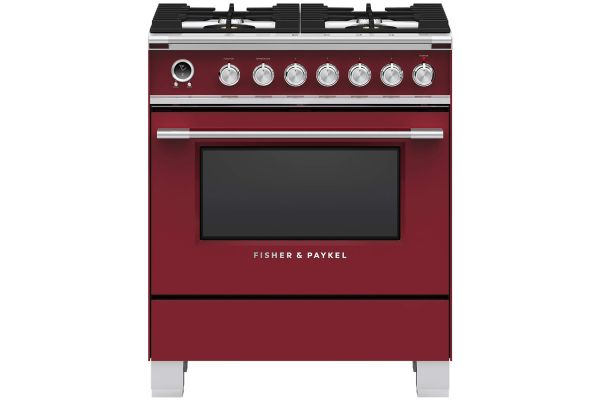 """Large image of Fisher & Paykel Series 9 Classic 30"""" Red Freestanding Dual Fuel Range, 4 Burners & Self-Cleaning - OR30SCG6R1"""
