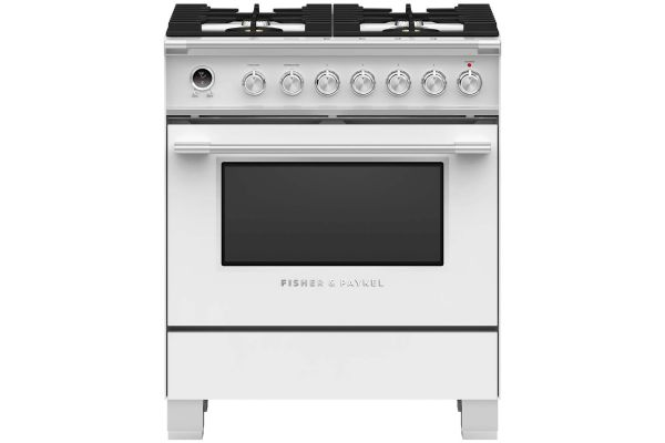 "Large image of Fisher & Paykel 30"" White Freestanding Dual Fuel Range - OR30SCG6W1"