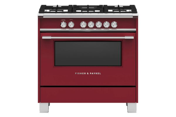 """Large image of Fisher & Paykel 36"""" Red Freestanding Gas Range - OR36SCG4R1"""