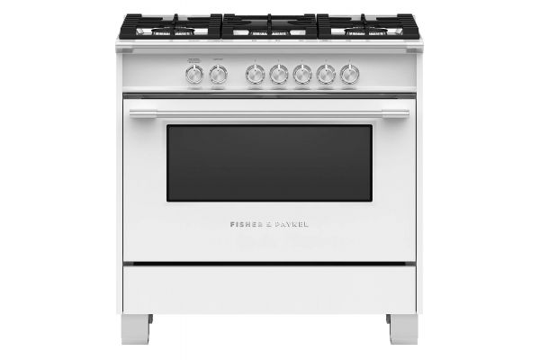 """Large image of Fisher & Paykel 36"""" White Freestanding Gas Range - OR36SCG4W1"""