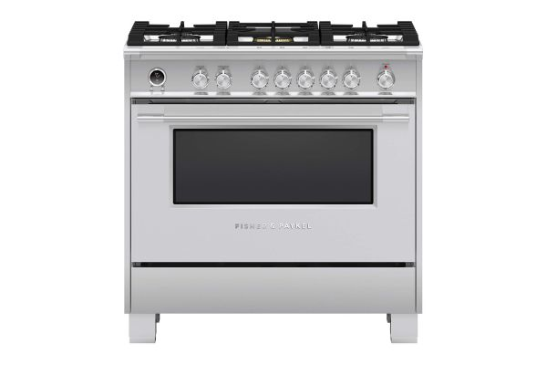 """Large image of Fisher & Paykel Series 9 Classic 36"""" Stainless Steel Freestanding Dual Fuel Range, 5 Burners & Self-Cleaning - OR36SCG6X1"""