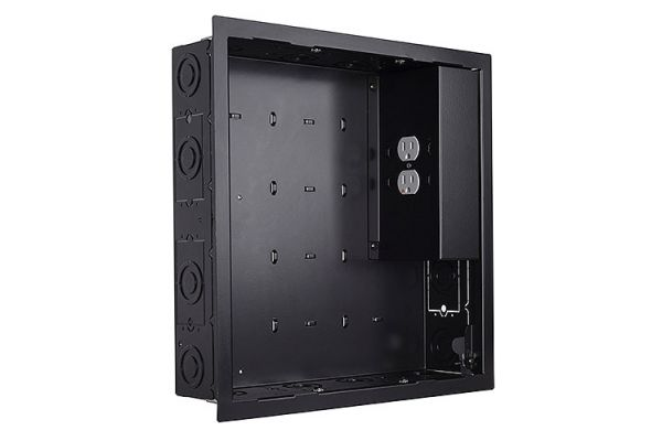 Large image of Chief Black In-wall Storage Box w/ 2 Receptacle Filter & Surge - PAC526FBP2