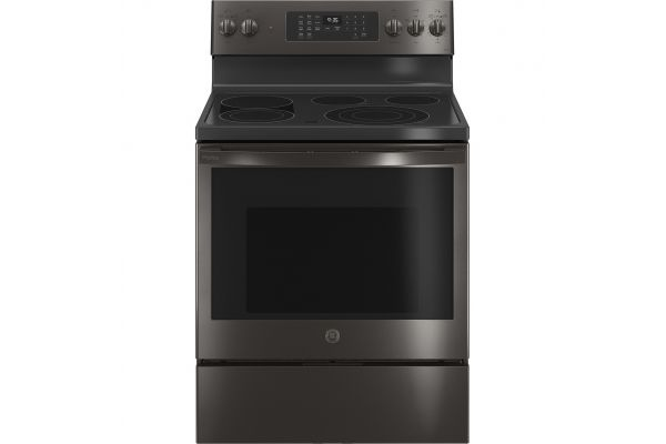 """Large image of GE Profile 30"""" Fingerprint Resistant Black Stainless Steel Smart Electric Convection Range With No Preheat Air Fry - PB935BPTS"""