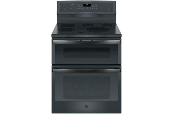 "GE Profile 30"" Black Slate Freestanding Double Oven Convection Range - PB960FJDS"