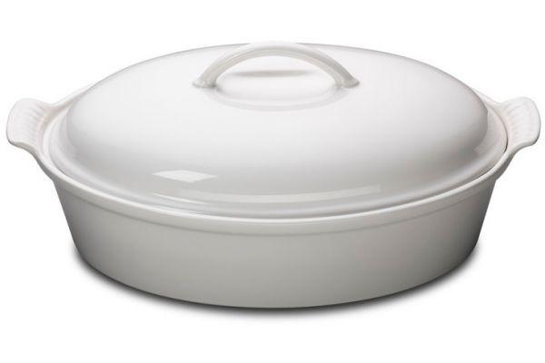 Large image of Le Creuset Heritage 4 Quart White Oval Casserole - PG04053A-3616