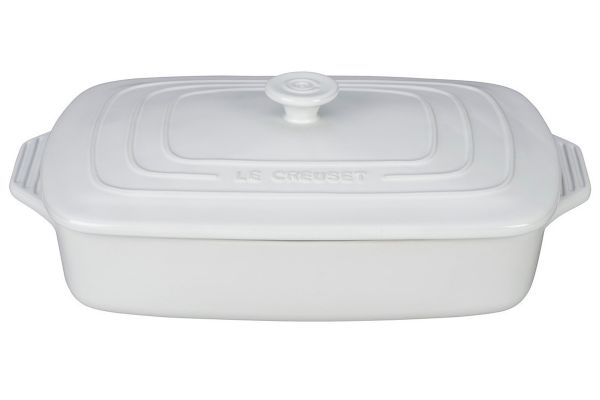 Large image of Le Creuset White 3.5 Qt. Covered Rectangular Casserole - PG1148S3A-3216