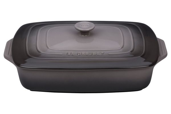 Large image of Le Creuset Oyster 3.5 Qt. Covered Rectangular Casserole - PG1148S3A-327F
